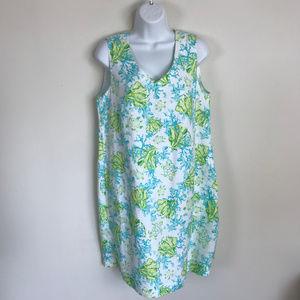 J. Jill Love Linen White Blue Ocean Theme Dress